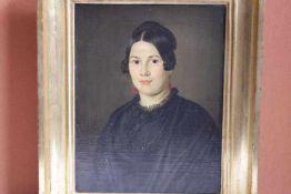 Damen Portrait 19.Jhdt. Louise Cunerth «Öl/Platteverso bez. Köhler 1850Originalrahmen27x36cm