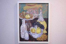 Schopf Gustav 1899-1987 Stuttgart Stilleben mit Maler 1961 «Öl auf PlatteVerso Nachlaß Etikett: