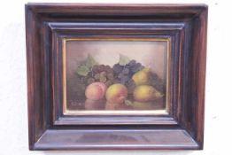 Reinier ? Stillleben mit Birnen und Trauben «Öl/PlatteNztl.Gerahmt 18x13cm
