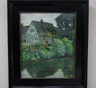 Singer,Otto Weimar 20.Jhdt. Haus am Bach «Öl/Kartonr.u.sign.& dat.192031x36cmGerahnmt