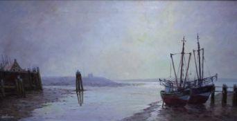 Schürmann E.R. 1898 DüsseldorfMarinemaler Fischkutter bei Ebbe «Öl auf Lwd.Li.u.Sig.80x40cmgerahmt