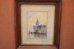 J.Weigel 19.Jhdt Venedig «Tusche/Aquarellli.u.sign.Blatt:21x30cmPassep,gerahmt,Hinterglas