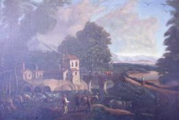Weite Flusslandschaftmit Architektur,Personen,und Tierenwohl um 1780Öl/Lwd.Doubl.132x89cmGerahmt