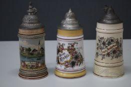 3 Porzellan/Keramik Krüge