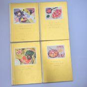 """4 Stk Kochbücher von 1936, """"Schnell kochen m. wenig Mühe"""", """"Rohkost, Obstspeisen, Kaltschalen"""", """""""
