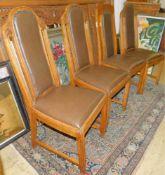 4 Stühle, Eiche, Jugendstil um 1910, Lehne verziert, Polsterung fast neuwertig, 1 Stuhl nicht