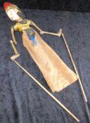 Marionette, Sri Lanka, um 1970, Stabmarionette Holz geschnitzt, polychrome Fassung, Höhe ca. 50