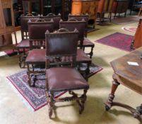 6 Stühle, Frankreich, Eichenholz und Sitzfläche mit rotem Lederbezug, Historismus, um 1890