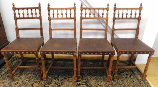 4 Stühle, Frankreich, Historismus um 1880, Nussbaum