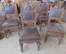 7 Stühle, Bergbau, Rückenlehne jeweils Schlägel und Eisen geschnitzt, Eiche mit Lederbezug, um