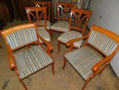 Stühle, Kirsche, Mitte 20.Jhdt., 6-er Satz, Biedermeier Stil, 2 x mit Armlehne