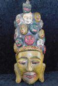 Maske Sri Lanka, um 1970, Holz geschnitzt, polychrome Fassung, Höhe 35 cm, Breite 14,5 cm