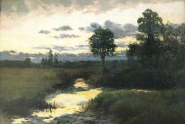 Ludwig Willroider (1845-1910), Landschaft mit Bachlauf im Abendlicht, Öl/Lwd. 61 x 91 cm