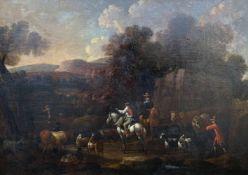 Unbekannter Maler, Landschaft mit Kuhhirten, Reitern und verschiedenen Tieren / Landscape with