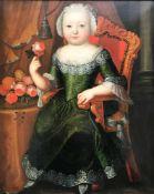 Unbekannter Portraitmaler, 18. Jh., Ganzfigurenportrait eines kleinen Mädchens in dunkelgrünem
