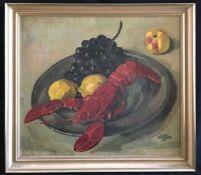 Carl Reiser (1877-1950), Stillleben mit Hummer, Zitronen und Weintrauben