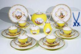 Gelbfond-Teeservice MEISSEN, 21-teilig, alle Teile erste Wahl.