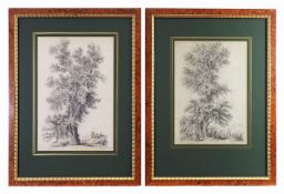 Paar Biedermeier-Handzeichnungen, datiert 1818.