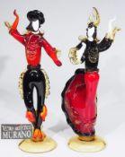 "Paar Glasskulpturen ""Flamenco-Tänzer"", Italien/ Murano, 20. Jahrhundert."