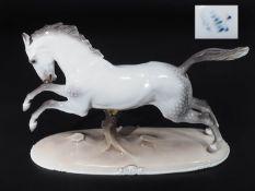 """Jugendstil-Tierfigur """"Galoppierendes Pferd ohne Reiter"""" (Springendes Pferd). NYMPHENBURG, Entwurf"""