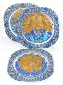 3 Weihnachtsteller Rosenthal Glas 1979, 1980, 1981, Ø 28,5cm<