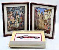 Konvolut 3 Porzellan Bilder, 2.mal Vilbo Card Villeroy & Boch und 1-mal Fürstenberg<