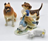 Konvolut 4 Porzellanfiguren, 2 davon Royal Dux