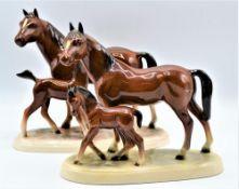 Konvolut 2 Pferdegruppen Porzellan