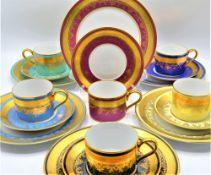 D W Fine Porcelain Karlsbader Manufaktur, 6 Sammeltassen, 6 Unterteller, 6 Kuchenteller, 1. Wahl