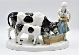 """Gräfenthal Porzellanfigur """" Magd Kühe """" Nr. 12361, 24 x 17cm<b"""