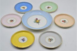 Nymphenburg Porzellan Konfekt Set 6 kleine Schälchen und 1 Teller mehrfarbig