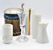 Konvolut Rosenthal Porzellan Glas 6-teilig 3 kleine Vasen, 2 Kerzenständer, 1 Bierkrug