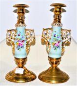 Paar Kerzenleuchter, Biedermeier Porzellan Messing handbemalt, ein Standfuß eingedellt, ca. 23,5cm