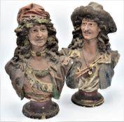 Paar Zigeuner Büsten auf Rundsockel Keramik um 1900 Österreich signiert R. Sturm, Bestossungen