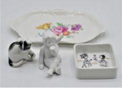 Konvolut Rosenthal Porzellan 4-teilig großes Schälchen mit kleiner Bestossung