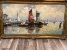 Ölgemälde Niederländischer HafenKünstler: Carol Spree