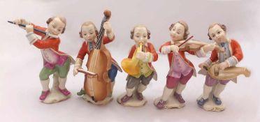 """5 Figuren Porz. HUTSCHENREUTHER """"Musikanten""""Entw. Karl HIMMELSTOß (wohl 1878-1967) Unterglasurbem."""