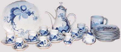 """Kaffeerestservice Porzellan MEISSEN """"Blaue Orchidee""""Entwurf: Prof. Heinz WERNER (wohl 1928-2019),"""