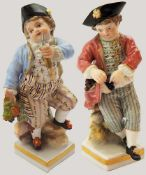 """2 Figuren Porz. MEISSEN Knaufschwerter """"Erfolgreiche Weintraubenernte""""bem. goldstaff. H jew. ca."""