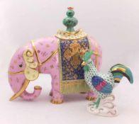 "2 Figuren Porz. HEREND ""Elefant"" ""Hahn""bemalt, goldstaff., z.T. num., versch. Größen, z.T. min"