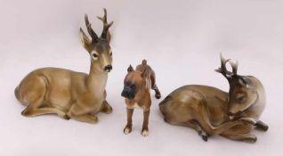 """3 Figuren Porzellan HUTSCHENREUTHER ROSENTHAL u.a.""""Rehkitz"""" """"Hund"""" u.a. z.T. Entw. Max Hermann FRITZ"""