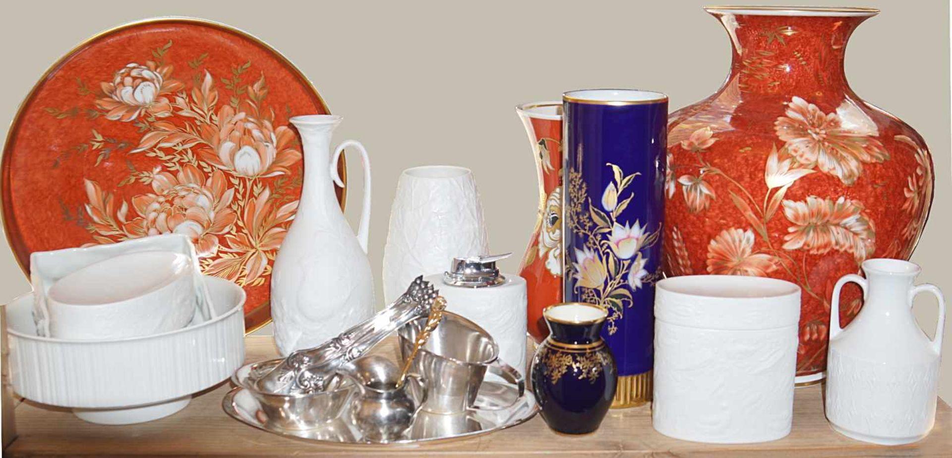 1 Konv. Porzellanz.T. ROSENTHAL KAISER Vasen Schalen u.a. z.T. Bisquitporz. versch. Gr. Asp.