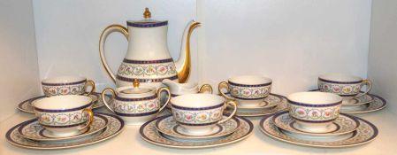 """1 Kaffeeservice Porz. HAVILAND LIMOGES""""Etiolles"""" wohl 1960er Jahre Blumendekor goldstaff. f. 6 Pers."""