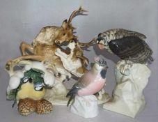 "1 Konv. Figuren/FigurengruppenPorz. versch. Marken z.B. ENS HUTSCHENREUTHER ""Vögel"" ""Jagdhund mit"