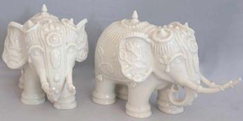 """1 Pendant Figuren Porz. HUTSCHENREUTHER """"Elefanten""""Entw.: R.G. BASKARA weiß H ca. 12,5cm min."""