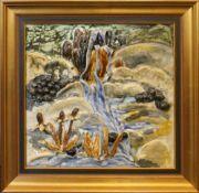 """1 Tonarbeit/Keramikrelief """"Landschaft mit Wasserfall""""glasiert ca. 37x37cm min. besch. Rahmen ber."""