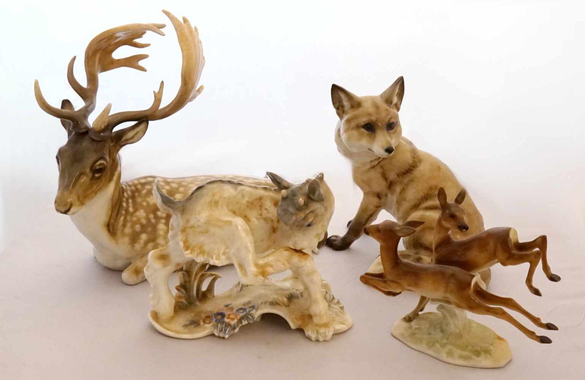 """1 Konv. Figuren/-gruppen HUTSCHENREUTHER ROSENTHAL ENS GOEBEL u.a.z.T. gestrichen """"Fuchs"""" """"Zicklein"""" - Bild 2 aus 2"""
