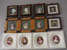 """1 Konv. Porz.-Miniaturen/Reliefbilderversch. Marken z.B. HEINRICH KÄMMER """"Schönheitengalerie"""" """""""