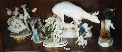 """1 Konv. Figuren/-gruppenPorz. versch. Marken z.B. ENS KAISER """"Höfische Szenen"""" """"Tiere"""" H ca. 20-30cm"""