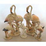 """1 Konv. Figuren/-gruppen Porz. ROSENTHAL HUTSCHENREUTHER ENSz,T. gestrichen """"Flamingopaare"""" """"Storch"""""""